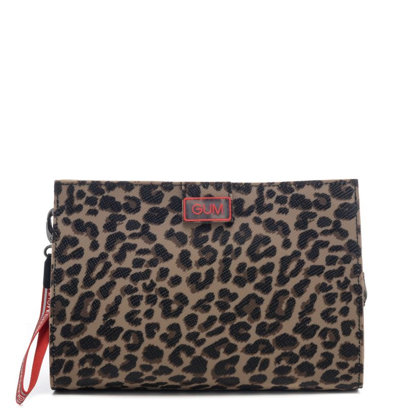 Pochette donna Gum in vera gomma con fantasia leopardata all over - 100% Made in Italy - GUM by Gianni Chiarini