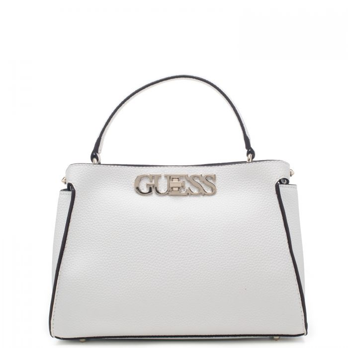 Borsa a mano donna Guess in ecopelle con scritta logo in metallo frontale