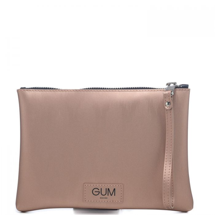 Pochette donna Gum modello Numbers in vera gomma effetto moiree fantasia Cabana con disegni astratti all over - 100% Made in Italy - GUM by Gianni Chiarini