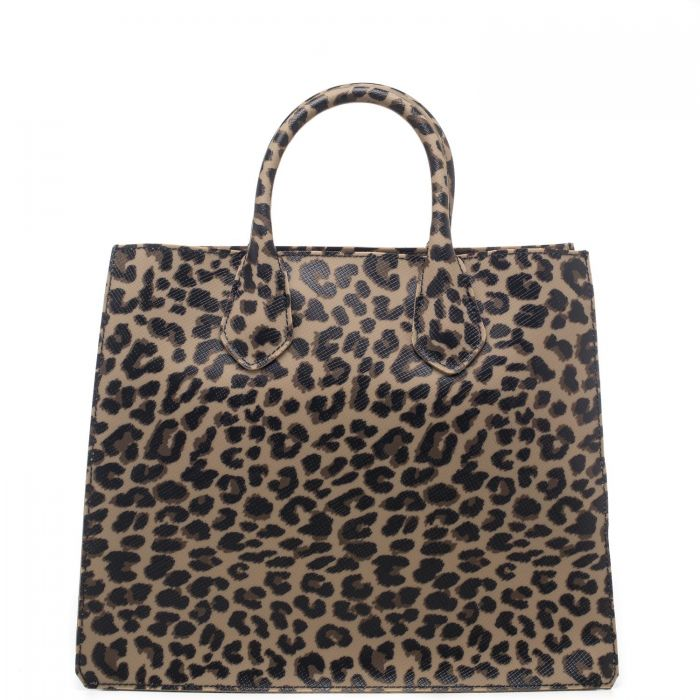 Borsa shopping donna Gum in vera gomma con fantasia leopardata all over, manici rigidi, tira zip con logo Gum - 100% Made in Italy - GUM by Gianni Chiarini