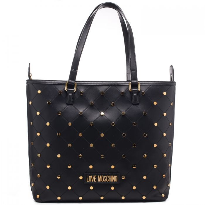 Borsa shopping donna Moschino in ecopelle con borchie tonde applicata sulla trapunta con logo con cuore in galvanica oro applicato sul davanti