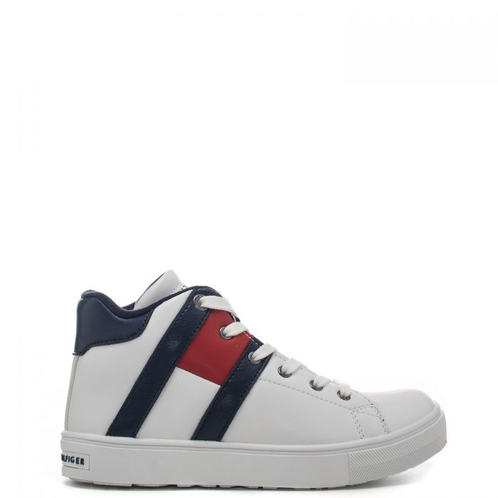 Sneaker alta in pelle con motivo iconico color block all over