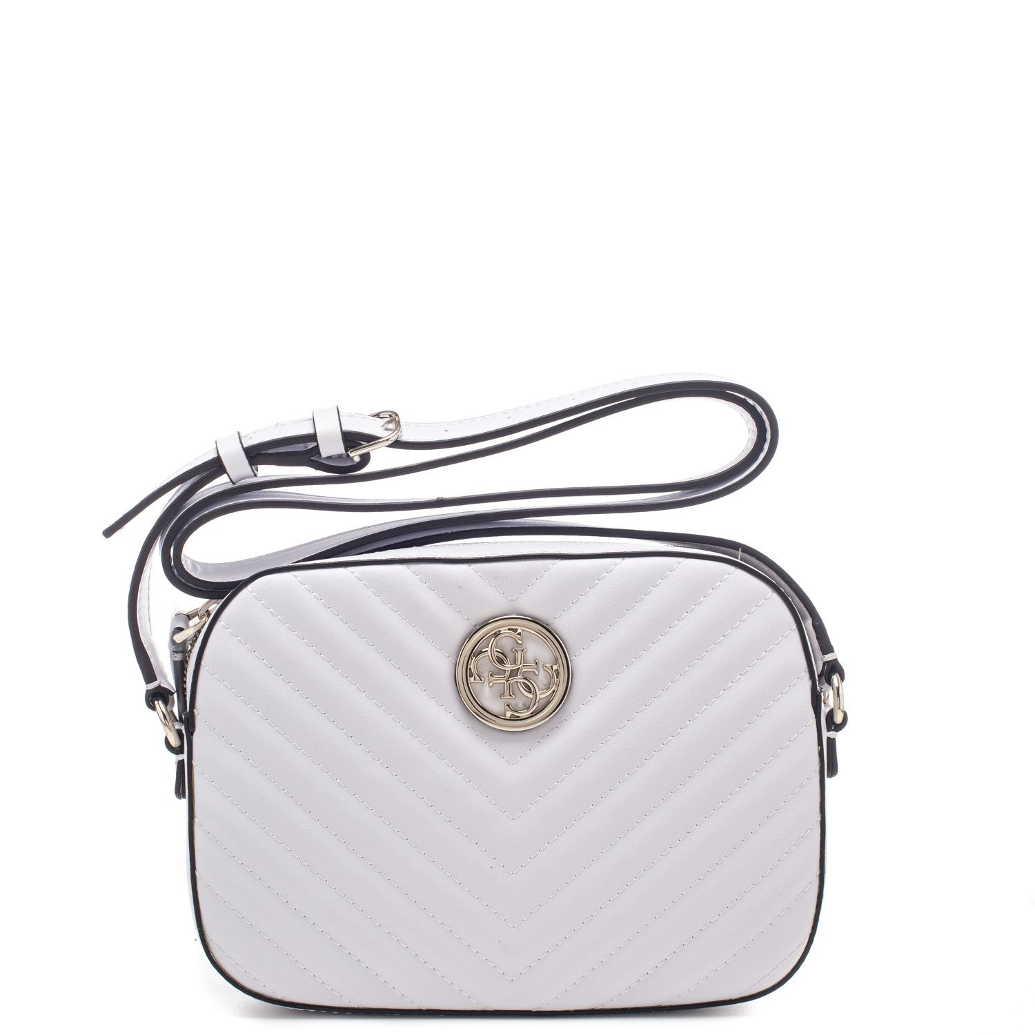 Borsa a tracolla donna Guess in ecopelle con cuciture frontali, 4G logo in metallo frontale