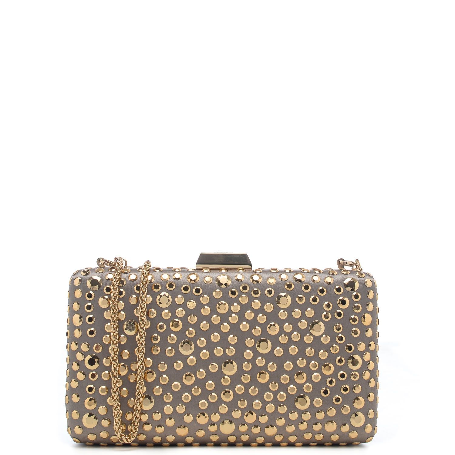 Clutch in raso con borchie tonde applicate